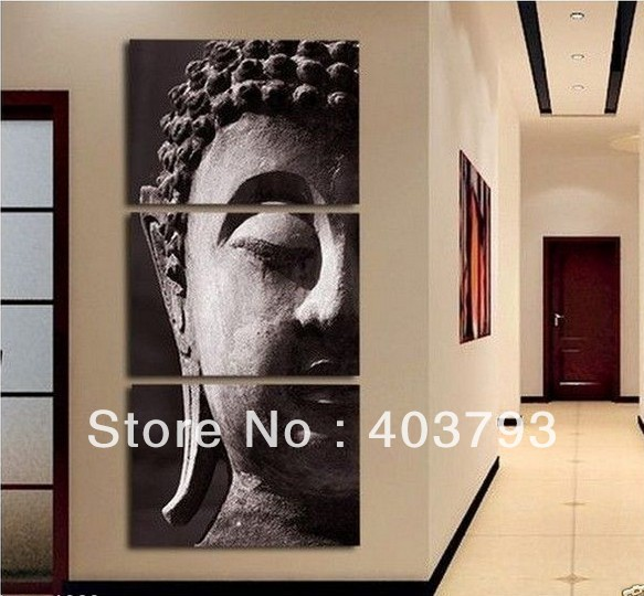 buy at disscount price Modern Abstract Oil Painting on canvas buddha head landscape (no framed)